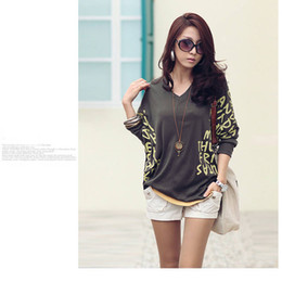 Wholesale Cheap Popular V neck Batwing Loose Tops Tee Casual Dolman Blouse Long Sleeve Letter Prints T Shirt Colors