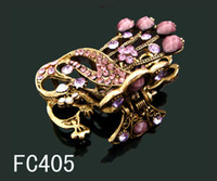Wholesale fashion hair jewelry Women s Vintage Style rhinestone peacock hair claw hair clip mixed color FC405