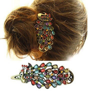 Wholesale Colorful Vintage Antique Crystal Peacock Hair Clip Hairpin