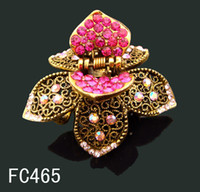 Wholesale Vintage hair jewelry Women s crystal rhinestone flower hair claw hair clip Hair accessory mixed color FC465