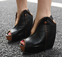 Wholesale Fashion Ladies Sexy Wedge Boots Open toe Sandals Wedges High Heel Colors New Autumn Shoes