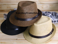 Wholesale Paper straw trilby jazz hat sun hat PU leather band with buckle colors available cm