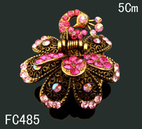 Wholesale Hot sale Vintage Style fashion hair jewelry rhinestone peacock hair claw clip Accessory hair mixed color FC485