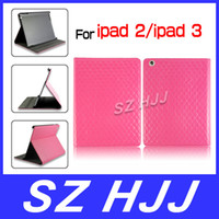 For Apple lattice For Ipad3 Luxury Shiny Patent Leather Smart Cover Stand Case For iPad 2 The New iPad 3 Of Fashion Grid Design