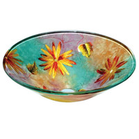 Colorful Tempered Glass Round Bathroom Basin Sink with High ...