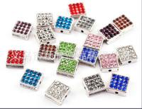 Wholesale 100pcs mix colors rhinstone beads square charms bead fit bracelet necklace