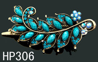 Wholesale wedding hair jewelry Women s Vintage Style leaves rhinestone zinc alloy hair clips HP306