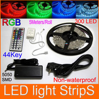 Wholesale 10M RGB SMD Flexible LED Light Strip Non Waterproof LED M keys IR controller A power