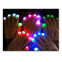 Wholesale 20pairs LED Gloves modes Rave Light Flashing Finger Lighting Glow Mittens White EB004