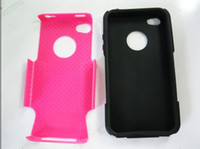2 in 1 Soft Silicone + Hard plastic mesh case for iphone 4S ...