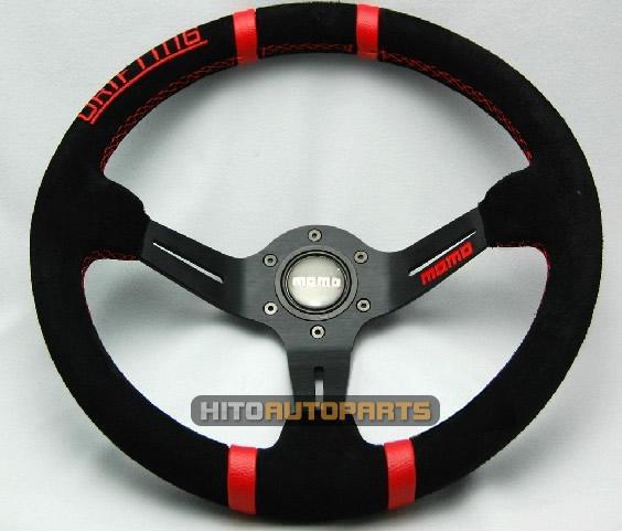 Momo Red Suede Steering Wheel 14 Suede Racing Steering Wheel