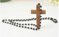 beaded wooden cross - wooden Cross Pendant aprox mm mm mm long beaded necklace Chain length approx mm