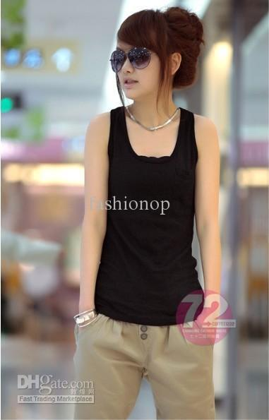 Best Korean Style Women Sleeveless Fashion Casual Black Wine Red Vest Tank Tops Mgj B002 Under