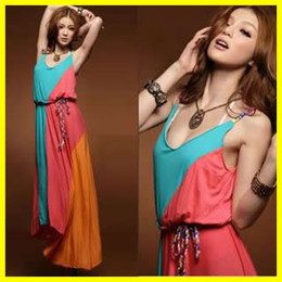 Wholesale Cotton Beach Dresses Sexy Braces Skirt Bohemia Long skirts V Neck One Piece Dress BB62A
