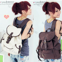 Wholesale New Fashion Women s Bag Canvas Backpack Shoulder Handbags Coffee Beige