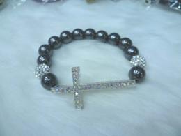 Cross Bracelets Sideway Cross Bead Bracelet Cross Charm Bracelets Free shipping 10pcs