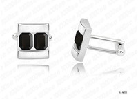 Wholesale Men s Fashion Crystal Sleeve Button Shirt Cuff Links Simple Design Multiple colors