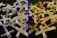 Wholesale Mix Colors pc Silver Gold Plated Metal Sideways Cross Rhinestone Bracelet Components Connector Jewelry Findings