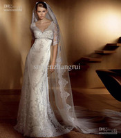 Wholesale 2012 Lace Vintage Wedding Dresses Gorgeous Long Sleeves V Neck Sheath Bambu Bridal Gown Sweep Train