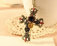 Wholesale mix order vintage Punk Style retro cross pendant necklace Rose Flower Crystal Diamond Skull Pendant