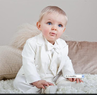 Wholesale Jacket Waistcoat Trousers and Cummerbund Baby Boys Cream Christening Wedding Tail piece Suit