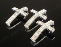 Wholesale 20PC Silver Metal Sideways Cross Bracelets Rhinestone Paved Connector Jewelry Findings sc1201s