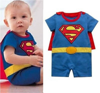 Boy baby smock - Free Shiping sets Batman Superman Baby Romper Baby Dress Smock Baby Cloak Infant Costume