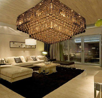 Chandelier Gold Hotel high quality modern crystal square ceiling chandelier lamp transparent water droplets