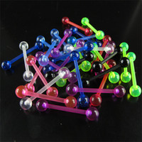 Tongue acrylic  Wholesale Wholesale 100pcs lot Colorful Acrylic Tongue Barbell Ring Body Piercing Jewelry