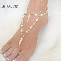 Wholesale sandbeach stretch anklet chain with toe ring pair cheap glass pearls LK_AN via China post