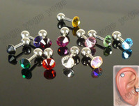Fashion barbell cartilage piercing - Mix pc Swarovski Crystal Cartilage Tragus Earrings Barbell Piercing Jewelry g BPJ229