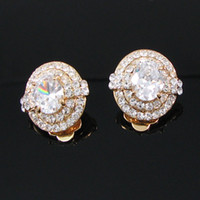 Wholesale crystal earrings clip on earrinngs with Swarovksi element silver white MINIMUM ORDER IS BA