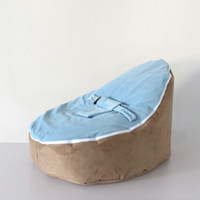 Wholesale deluxe baby bean bag chair original doomoo seat brown blue