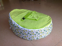 Wholesale Green rainbow dots baby beanbag chair doomoo bean bag seat with upper covers one with harness one is plain cover