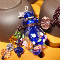 Cheap Hot Sale Empty Glass Bottles Essential Oil Pendants Coloured Glaze Mini Aroma Vials Cork Stopper 2ml