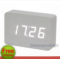 Wholesale New Trendy White Modern LED Wooden Wood Digital Alarm Clock