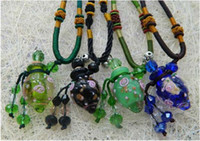 Wholesale Hot Sale Coloured Glaze Empty Glass Bottles Necklace Essential Oil Pendants Hang Rope ml