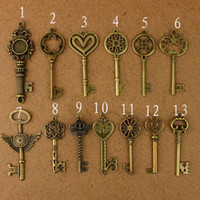 Wholesale 22pcs of each Vintage Pendant Antique Bronze Alloy Key Charms Metal Charm Alloy Charms