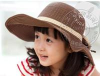 Wholesale Girls Wide Brim Beach Hat with Big Bowknot Baby Floppy Straw Beach Hat Kids Summer Straw Hat