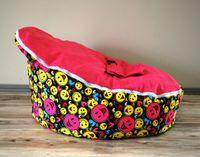 Wholesale Smile face red baby seats bean bag sunggle pod doomoo fashion beanbag seat