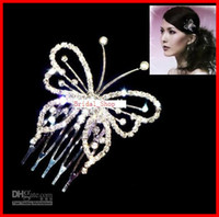 Wholesale Butterfly Crown Combs Wedding Bridal Tiara Jewelry Crystal Hair Ornaments Wedding Dress Accessories
