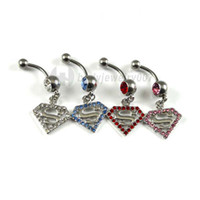 belly button stone - 0422 Belly Button JF14 A body piercing jewelry Fashion Charm CZ Stone navel belly Dangle Piercing Jewelry