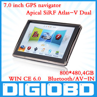 Wholesale 7 inch GPS Navigation APICAL SiRF Atlas V Dual Core CPU MHz DDR M G Memory Bluetooth AV IN