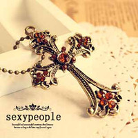 christian - 103 women fashion christian jewelry vintage rosary cross champagne rhinestone pendant sweater necklaces promotion