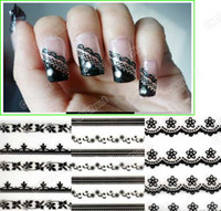 Wholesale Nail Art Stickers Sheet Mixed Black Flowers Lace Decal Manicure Tip French Style Agood