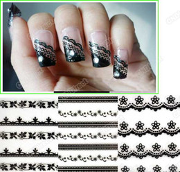 Wholesale Nail Art Sticker Sheet Mixed Black Flowers Lace Decal Manicure Tip French Style Agood