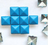Wholesale 9x9mm color square pyramid STUDS Rivet button Spikes Nailheads Punk Bag Cloth Accessory
