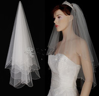 Wholesale Crystal Drop Beaded Bridal Veil Hand Sew Real Picture Elbow Length with Comb Two Layer T Wedding Hair Accessory