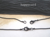 Chains Alloy Chirstmas 1.5mm 18inch black ball necklace chain with Lobster Clasp 100pcs lot
