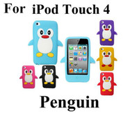 Wholesale Cute Penguin Soft Silicone case For iPod Touch th gen Case Back Cover by DHL